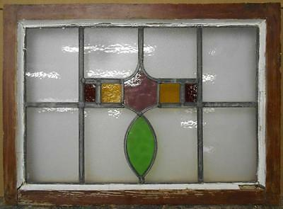 "MID SIZED OLD ENGLISH LEADED STAINED GLASS WINDOW Abstract Floral 26.75"" x 19.25"
