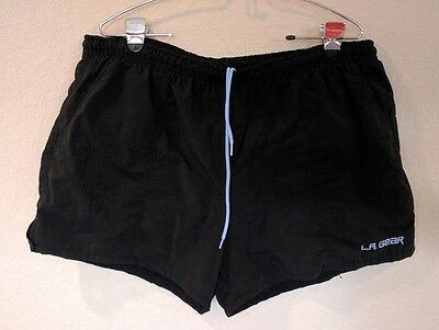 Vintage L.A. Gear Mens Black Swim Trunks Shorts Unstoppable Large Swimsuit
