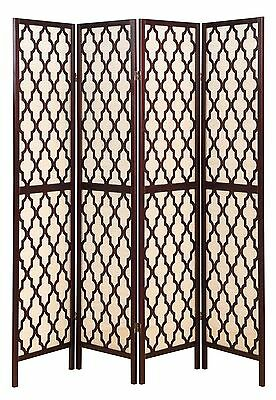 4 Panel Wooden Fabric In-lay Screen Room Divider w/ Decorative Cut Outs Espresso