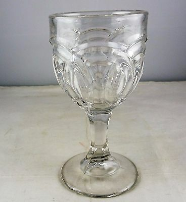 Early American Pressed Glass Wedding Ring Wine Goblet