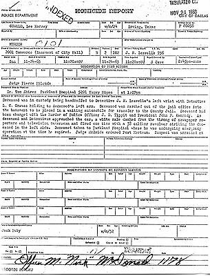 Lee Harvey Oswald's Homicide Report Signed by the Man Who Caught Him
