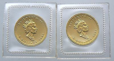 2 Sealed 1993 $5 Canada Maple 1/10 Oz Gold Coins .9999 Pure