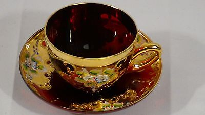1951c MURANO VENETIAN ART GLASS RUBY AND GOLD HAND PAINTED COFFEE CUP AND SAUCER
