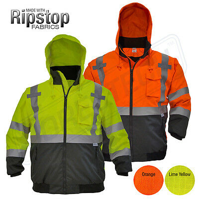 Hi-Vis Insulated Safety Bomber Reflective Jacket Coat Road Work HIGH JORESTECH