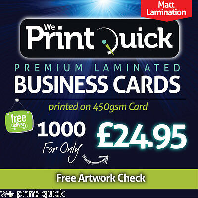 1000 Business Cards - 450gsm Premium, Matt Laminated, Double Sided