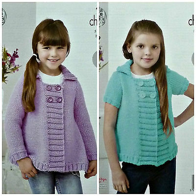 KNITTING PATTERN Girls Easy Knit Long/Short Sleeve Jacket Collar 4436 King Cole