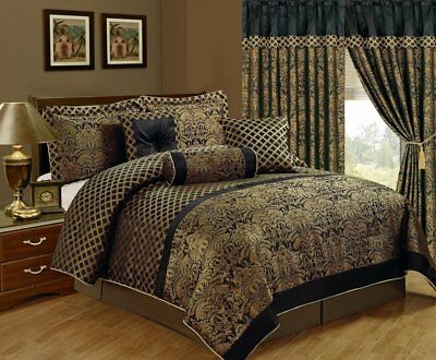 Chezmoi Collection Lisbon 7-Piece Jacquard Floral Comforter Set