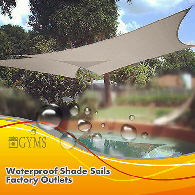 Waterproof SHADE SAIL 3M x 3M square Bone/charcoal Special offer
