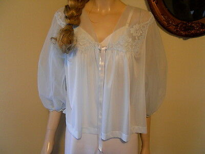 Vintage 50's Vanity Fair Powder Blue Chiffon & Lace Bed Jacket M