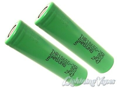2 Pack - Samsung 25R 25A 2500mAh 18650 Flat Top Battery
