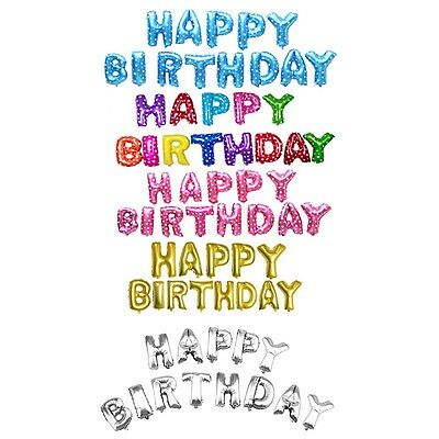 """13Pc """"HAPPY BIRTHDAY"""" Letters Foil Balloons For Birthday Party Decor Gifts"""