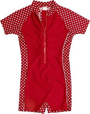 (TG. 86/92 cm) Playshoes - Costume da Bagno a pois, bambina, Rosso (Rot (8 rot )