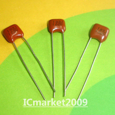 LOT OF 100 61F103K100 GENERAL ELECTRIC CAPACITOR 0.01UF 100V FILM POLY AXIAL