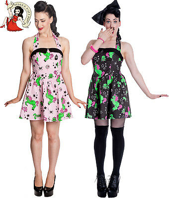 55e568ff855b HELL BUNNY I HEART ZOMBIE skulls MINI DRESS POLKA DOT alternative BLACK PINK