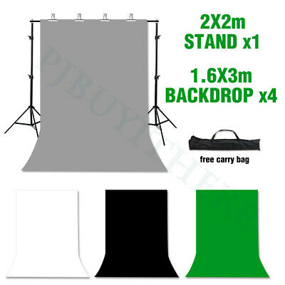 Photo Studio Black White Green Backdrop Screen Chroma Key Background Stand Kit