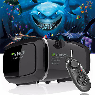 VR BOX 3D Glasses Headset Virtual Reality Video Movies Games Bluetooth Remote