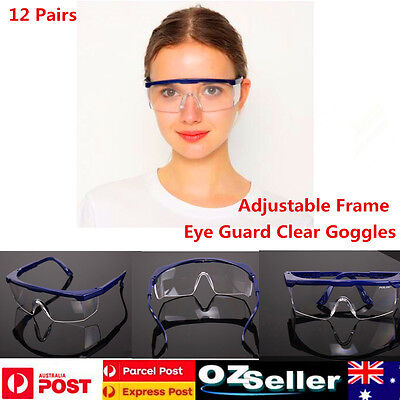 12Pair Anti-Fog Clear Lens Protective Goggles Lab Medical Safety Eyewear Glasses