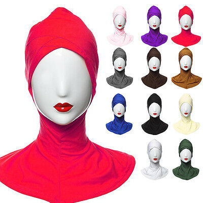 10 Color Women's Hijab Islamic Band Neck Cover Head Wear Under Scarf Cap Bonnet