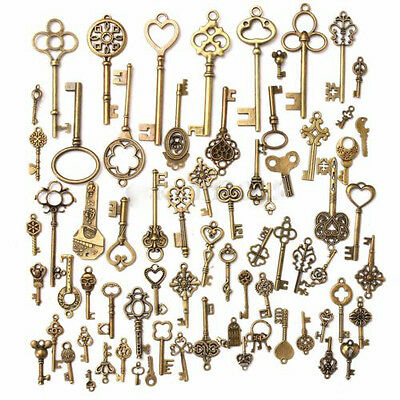 70pcs  Antique Vintage Old Look Bronze Skeleton Keys Fancy Heart Bow Pendant Set