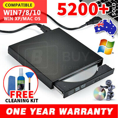 USB External CD RW DVD ROM Writer Burner Player Drive PC Portable Laptop Mac