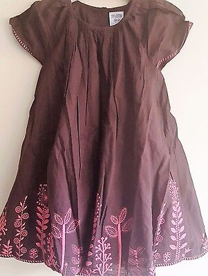 Baby Toddler Girls Ex Store Brown Cotton Lined Dress - From 3 Months To 4 Years