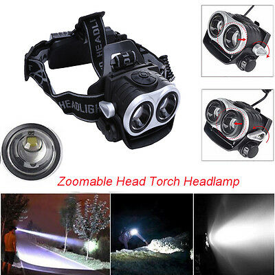 10000Lm 2x T6 LED Rechargeable 3 Modes Zoomable Head Torch Headlamp Headlight UK