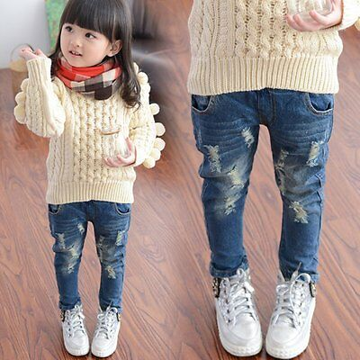 Toddler Kids Baby Girls Ripped Denim Skinny Jeans Stretchy Pants Trousers 2-7Y