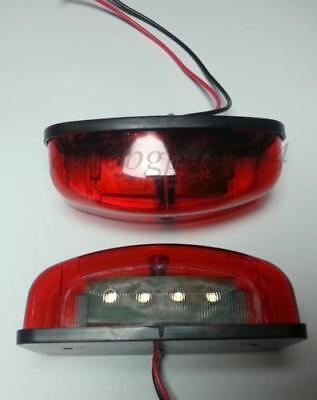 Pair RED Rear Tail Number Plate LED Lights fit Truck Trailer Lorry 4 LEDs 24V