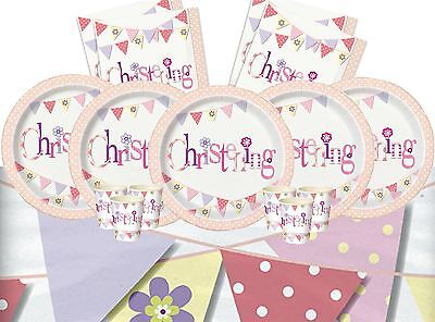 Girl Christening Party Bunting Tableware Decorations Pink Cups Plates Napkins