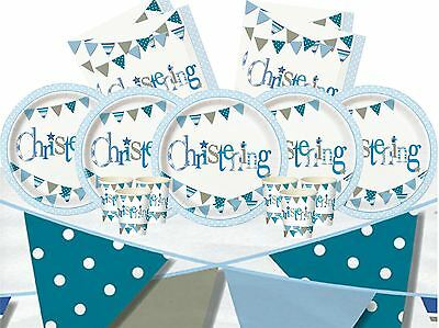 Boy Christening Party Bunting Tableware Decorations Blue Cups Plates Napkins