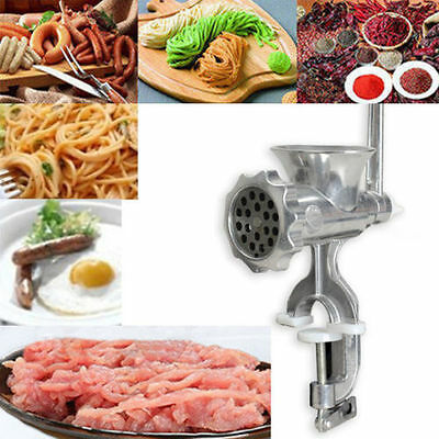 Cast Iron Manual Meat Grinder Mincer Table Hand Crank Tool Steel for Kitchen