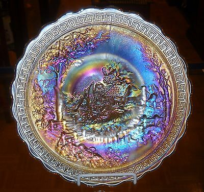 Vintage Imperial Carnival Glass Frosty White Irridescent Homestead Chop Plate