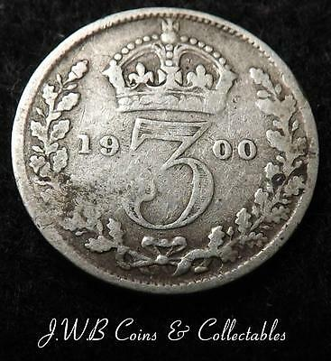 1900 Queen Victoria Silver 3d Threepence Coin - Great Britain