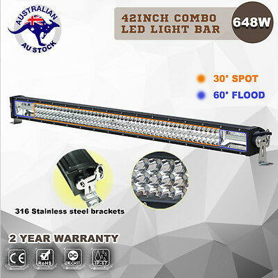 42inch Philips LED Light Bar Triple Row Offroad JEEP 4WD Work Driving