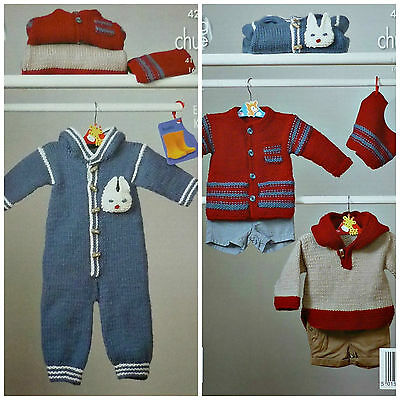 Baby KNITTING PATTERN Easy Knit All-in-one Jumper Jacket HatChunky KingCole 4228