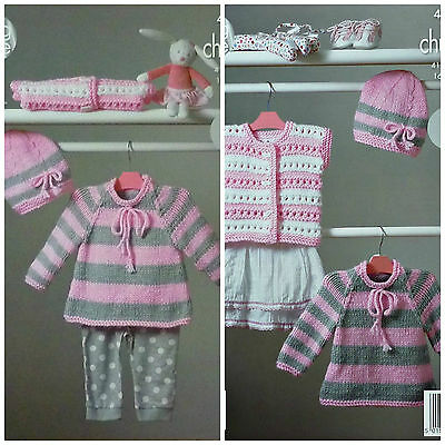 Baby KNITTING PATTERN Babies Easy Knit Striped Jumper &Hat Chunky King Cole 4229