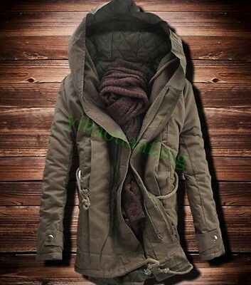 Winter Mens Military Outdoor Trench Coat Jacket Casual Hooded Parka Thick Cotton