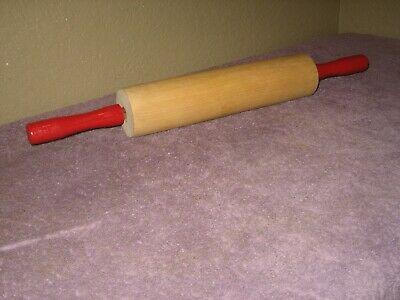 """Vtg 18"""" Wood Rolling Pin with Fire Engine Red Handles & Metal Plastic Bearings"""