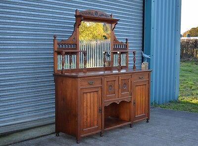 Large Antique Mahogany Sideboard Chiffonier Drinks Hutch.