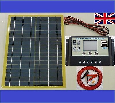 20w Light Solar Panel + 10A 12v LCD USB Battery Charger +8m cable & fuse & clips