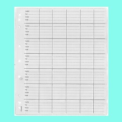Coin Pages - Pack Of 5 Pages - 42 Pockets / Page-9 Holes- Will Fit Up To 20 Cent