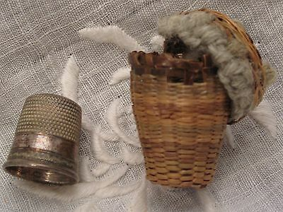 Darling Antique sterling silver thimble in basket size 10