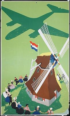 Vintage KLM Dutch Airlines Poster  A3 Print