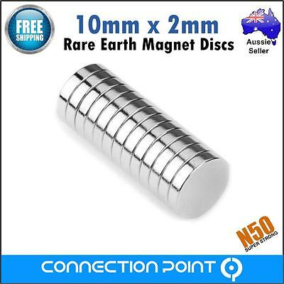 10 pcs Rare Earth Magnets 10mm x 2mm Disc N50 Neodymium Super Strong Round Craft
