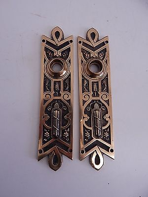 Pair Victorian Brass Backplates with Escutcheons