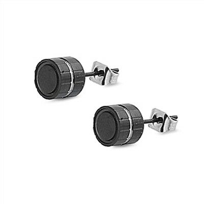 GIFTS FOR MEN New Stainless Steel Black Round Fashion Stud Earrings Pair 7mm