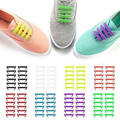 12 Pcs Easy Sneaker Elastic Lazy Shoe String Laces No Tie Shoelaces Silicone New