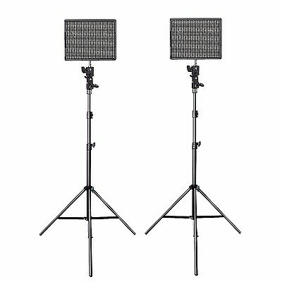 AU 2Pcs Aputure AL-HR672C 3200-5500K LED Video Light Panel + Light Stand +Remote
