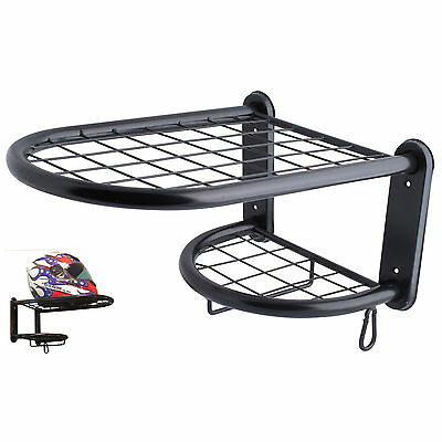 New Single Motorcycle Crash Helmet Clothing and Glove Shelf Stand Wall Bracket