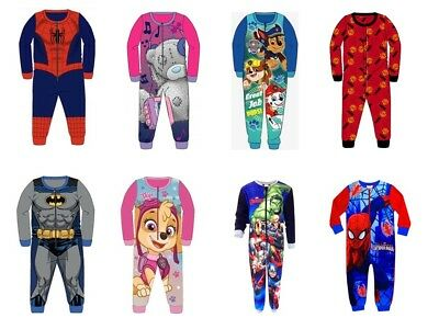 Childrens Toddler Boys Girls Character All In One Sleepwear Pyjamas Nightwear